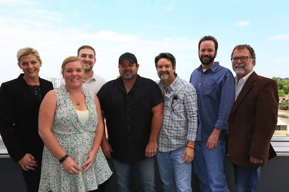 Pictured (L-R) SESAC's Shannan Hatch, HoriPro's Courtney Crist and Lee Krabel, McCoy, HoriPro's Butch Baker and Tim Stehli & SESAC's Dennis Lord. Photo: Bev Moser