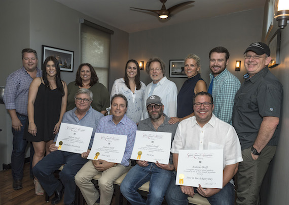 Pictured (L-R): Front Row: BMI's Phil Graham and Jody Williams, BMI songwriter Andrew Dorff, Universal Music Publishing's Kent Earls. Back Row: BMI's Bradley Collins, business manager Anna Marsh, Universal Music Publishing's Cindi Forman, Missy Roberts, BMI Songwriter Steve Dorff, BMI's Leslie Roberts, Universal Music Publishing's Travis Gordon and Ron Stuve. Photo: Steve Lowry