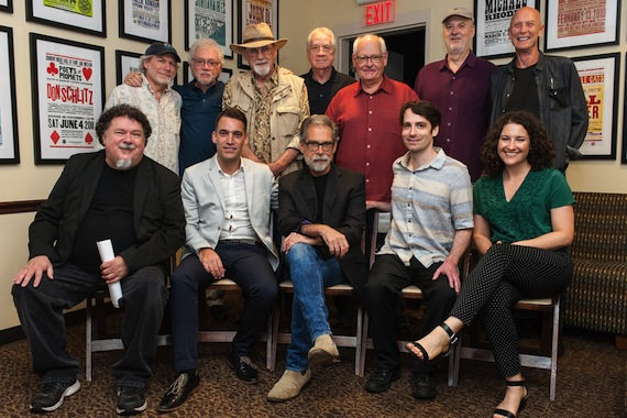 Pictured (L-R): Back row: Buddy Miller, Bergen White, Duane Eddy, Billy Sanford, Steve Gibson, David Briggs, Michael Rhodes. Front row: moderator Bill Lloyd, musician Nick Bennett, honoree Richard Bennett, musician Sean Weaver, Country Music Hall of Fame and Museum's Abi Tapia.
