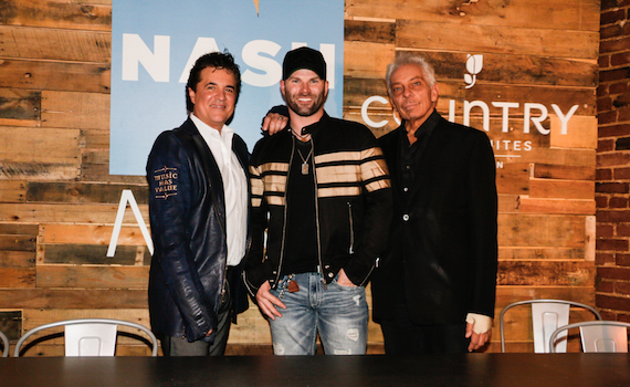 (L-R:) Scott Borchetta, Founder, President and CEO of Big Machine Label Group, flanks NASH Next 2016 Challenge winner, Country singer Todd O'Neill, with Mike McVay (R), SVP, Content and Programming, Cumulus Media