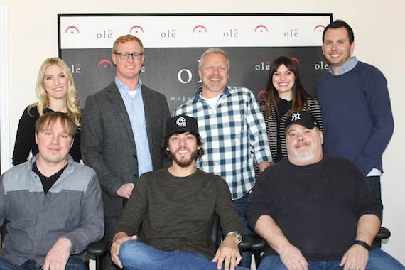 Pictured (Nack row, L-R): Shellien Kinsey, ole, Creative Coordinator; John Ozier, ole, VP Creative; Mike Whelan, ole, Sr. Creative Director; Emily Mueller, ole, Creative Manager; Ben Strain, ole, Creative Director. (Back row, L-R): Songwriter Pavel Dovgalyuk, Singer/Songwriter Chris Janson, Songwriter Mark Irwin