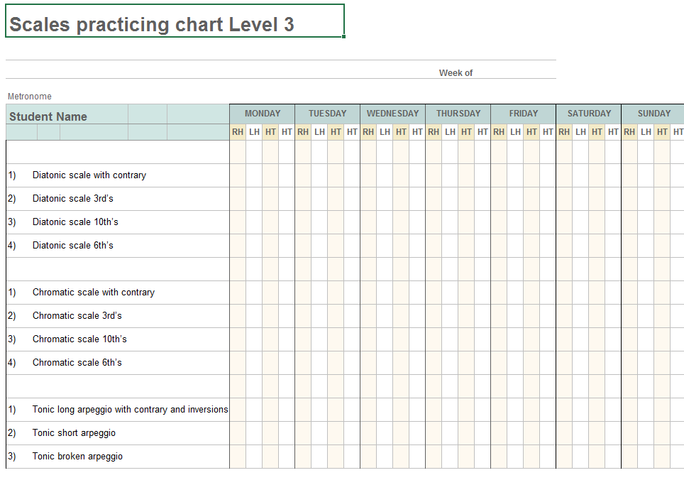 photograph relating to Printable Music Practice Log named Scale Charts and Styles Hunter Mill Songs Studio