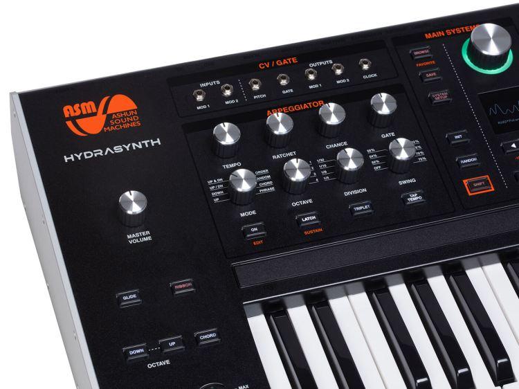 Ashun Sound Machines Hydrasynth keyboard version angled shot