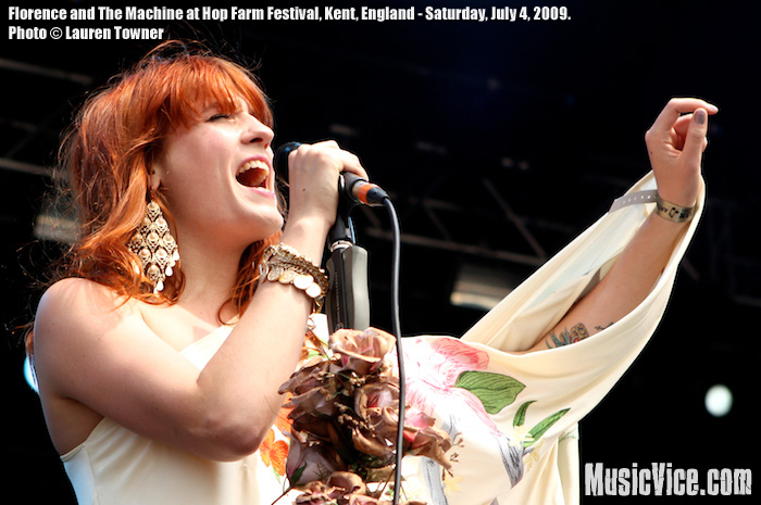 Picture of Florence and The Machine performing at Hop Farm Festival 2009 - photo by Lauren Towner, Music Vice