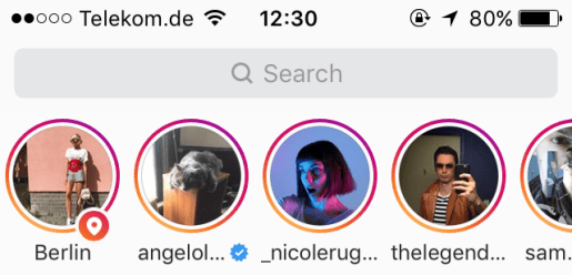 Instagram's top row containing stories