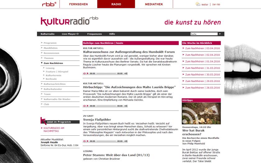 Die Kunst, sich zu verstecken. Screenshot rbb kulturradio
