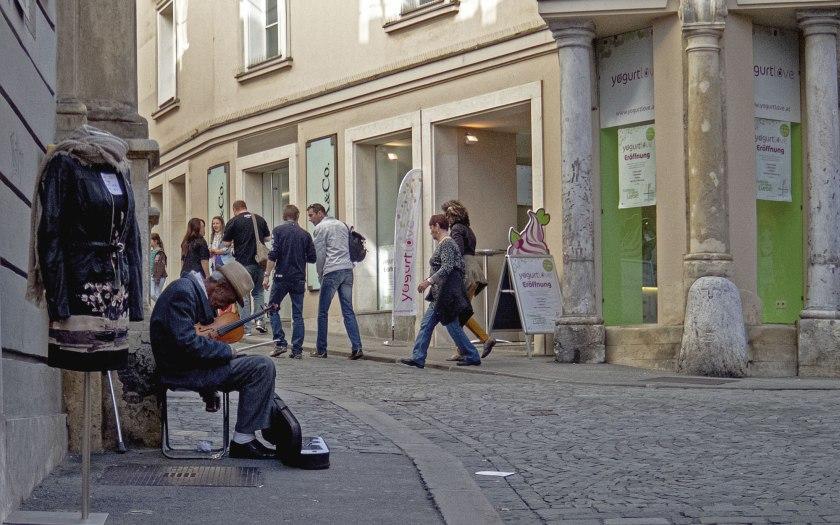 Musiker in Graz. Text und Foto: Martin Hufner