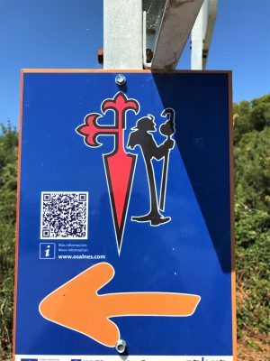Camino marker for the Variante Espiritual of the Portuguese way
