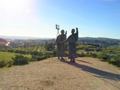 Bronze Pilgrim statues on Monte de Gozo