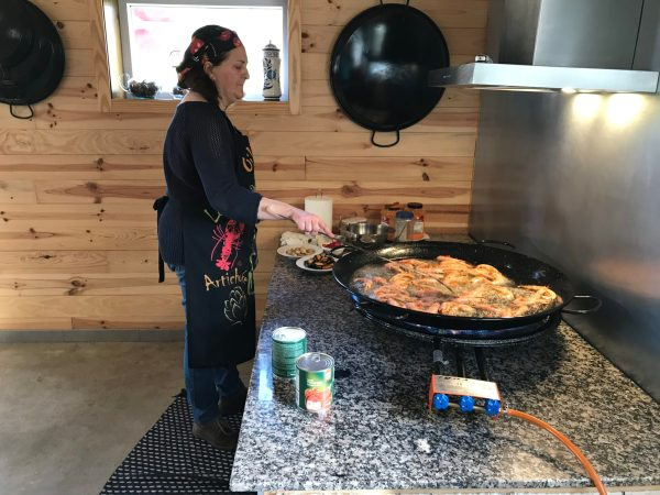 Paloma Cooking the delicious paella we'd had for dinner