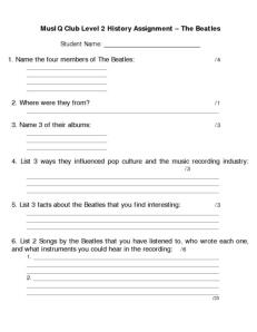 L2: History The Beatles Quiz