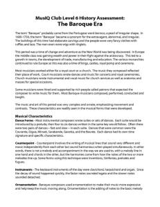 L6: History Assignment The Baroque Era