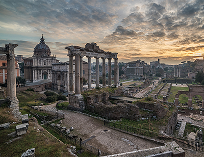 ome, Italy: The Roman Forum in the sunrise