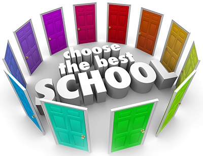 Choose the Best School words surrounded by colored doors to illustrate the challenge of finding or picking the top college, university or other secondary education center to further your learning