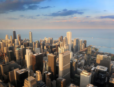Aerial view of downtown Chicago in late afternoon
