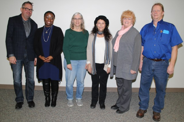 Muskegon Community College 20-year, 25-year and 40-year Service Award recipients are: (left to right) Ronnie Jewell (20), Dequecha Crews (20), Janice Whitlow (40), Gretchen Cline (20), Lynda Ferry (25) and Jim Royce (20). Not pictured is Arun Datta (20)