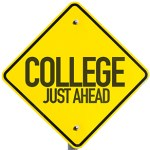 College Just Ahead sign isolated on white background