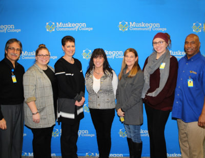 The five-year award recipients were: (left to right) Eduardo Bedoya, Lisa Anderson, Hailey Mabrito, Val Shelby, Deb Grube, Hillari Thompson and Dennis Stinson.