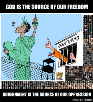 """This meme was created using a cartoon by Carlos Latuff, from latuffcartoons.wordpress.com. M4L modified the cartoon (by changing the hand gesture to be the Islamic reference to One God). The prisoner images were taken from """"The Guantanamo Files"""" by the Guardian"""