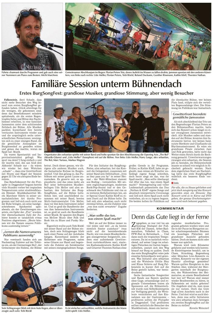 Chamer Zeitung 31. Juli 2013, BurgSongFest