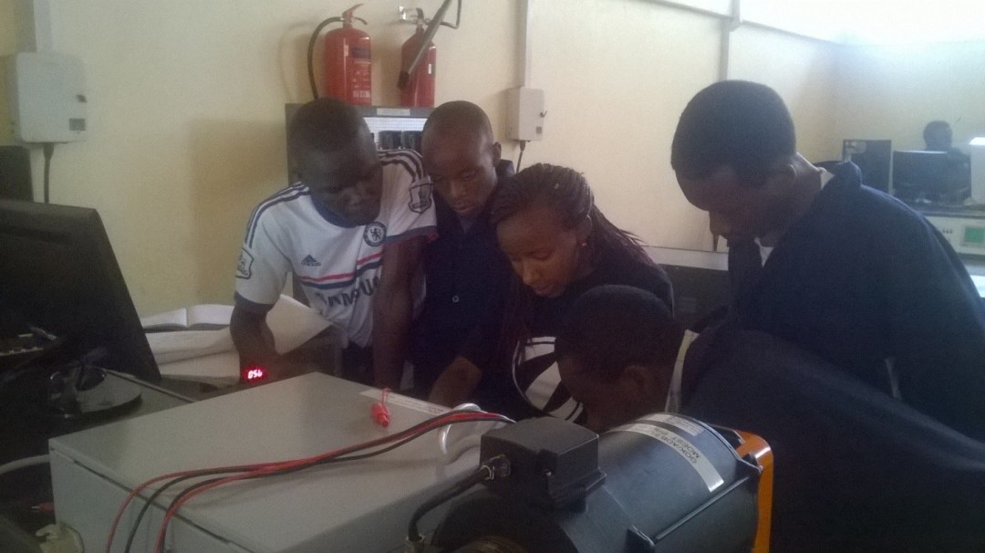 Students during a practical session on the electronic workbench