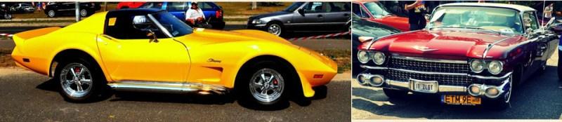 Piękna żółta Corvette zŁodzi orazwzbudzający podziw Cadillac deVille
