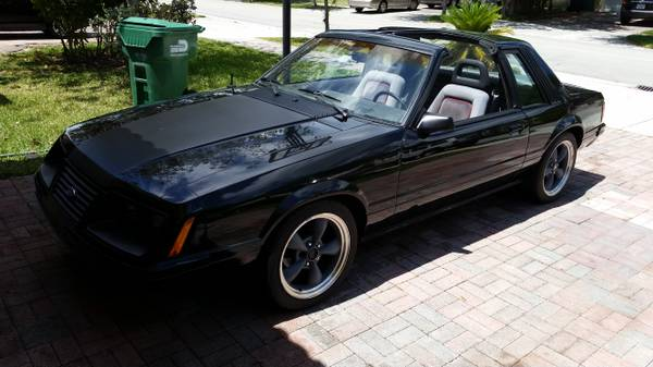 Black 1983 Mustang GT with T-Tops