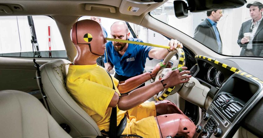 Crash testing dummy in front seat