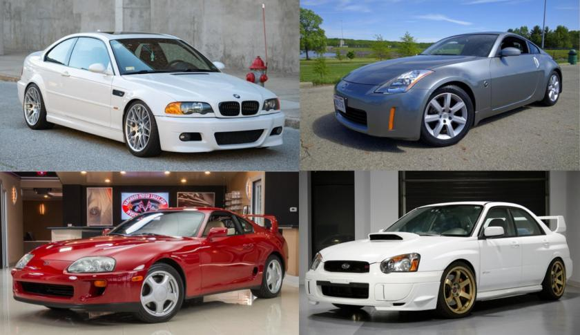2005 BMW M3, 2002 Nissan 350Z, 1994 Toyota Supra, 2005 Subaru WRX Sti