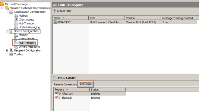 Enable Built-in Anti-Spam Agents in Exchange 2010