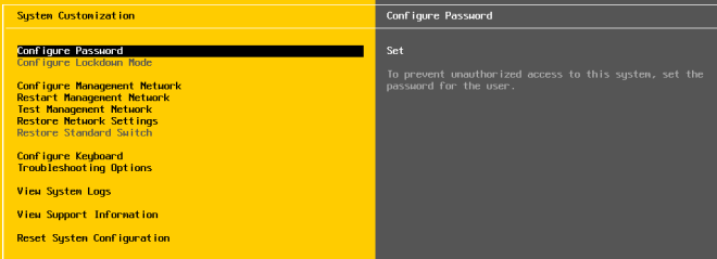 Set Password of ESXi Server
