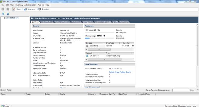 vSphere Client Screen