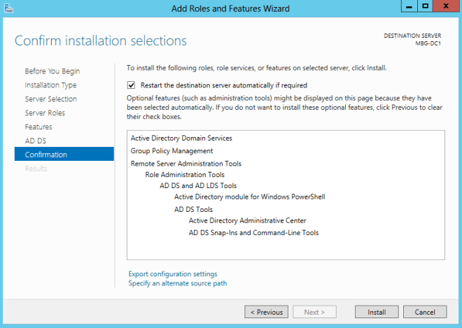 Confirm Installation of AD DS