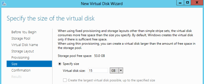 Specify size of Vritual Disk