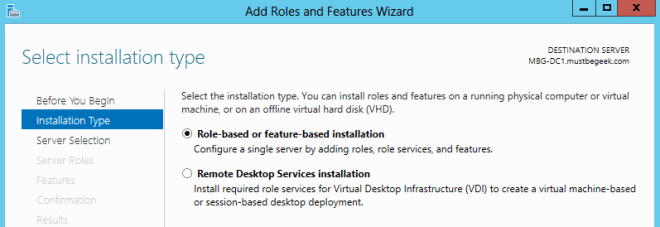 role based installation