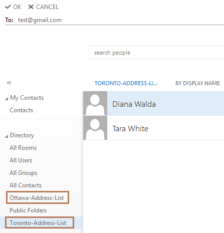 Address Lists in Users Directory