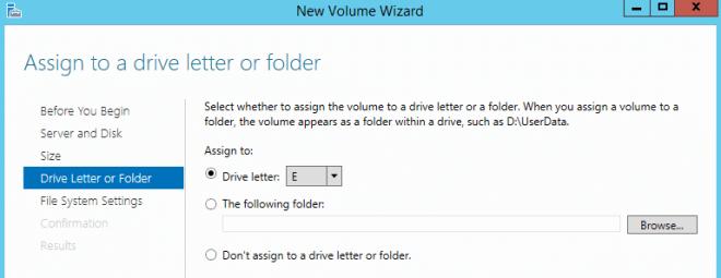 Choose Drive Letter