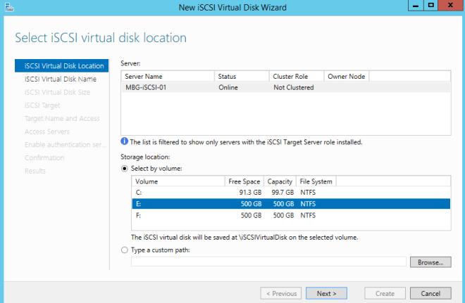Select iSCSI virtual disk