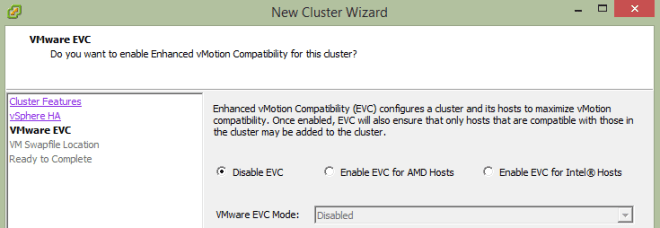 Disable VMware EVC