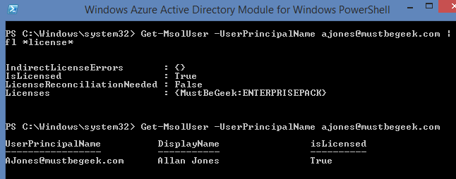 how to run powershell use userprincipalname to get license
