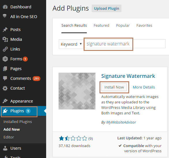 Add Watermark using Signature Watermark Plugin in WordPress