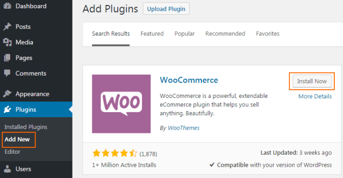 add-plugins-woocomeercee How to start online store with WooCommerce in WordPress