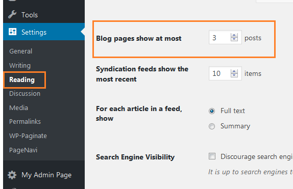 Limiting the number of post to show in a page