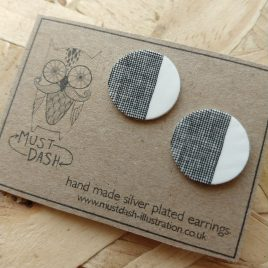 Circular Patterned Earrings  – White – Cross Hatched Pattern