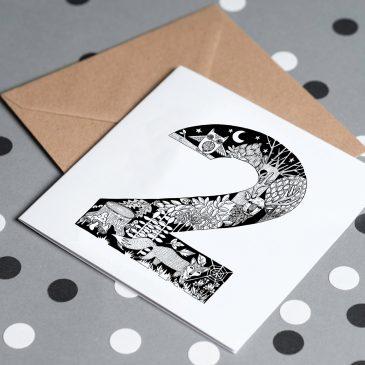2nd Birthday – Night Animal Themed Greetings Card