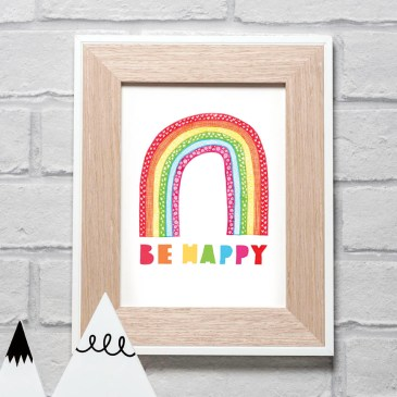Rainbow 'Be Happy' – A5 Unframed Print