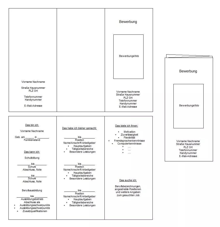 Vorlage und Anleitung für Bewerbungsflyer. >