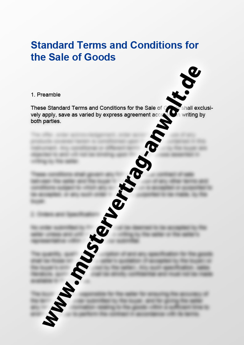 Standard Terms and Conditions for the Sale of Goods - Mustervertrag ...