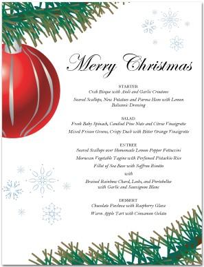 Red Ornament Christmas Menu Template Christmas Menus