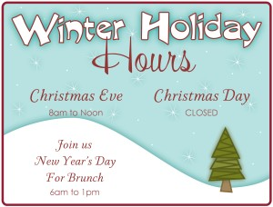 Winter Holiday Hours Flyer Restaurant Flyer